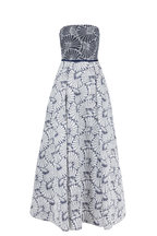 Donald Deal - Navy Blue & White Beaded Jacquard Ball Gown