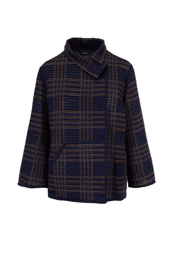Akris Corinna Navy & Bark Plaid Wool & Silk Jacket