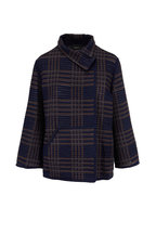 Akris - Corinna Navy & Bark Plaid Wool & Silk Jacket