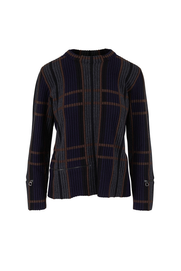 Akris Navy & Multicolor Jacquard Cashmere & Silk Top