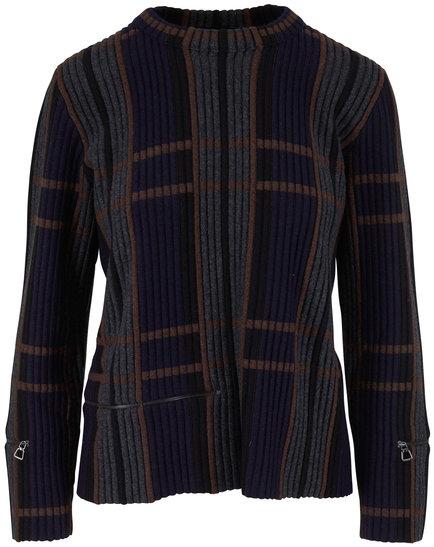 Akris Navy & Multicolor Jacquard Cashmere & Silk Top
