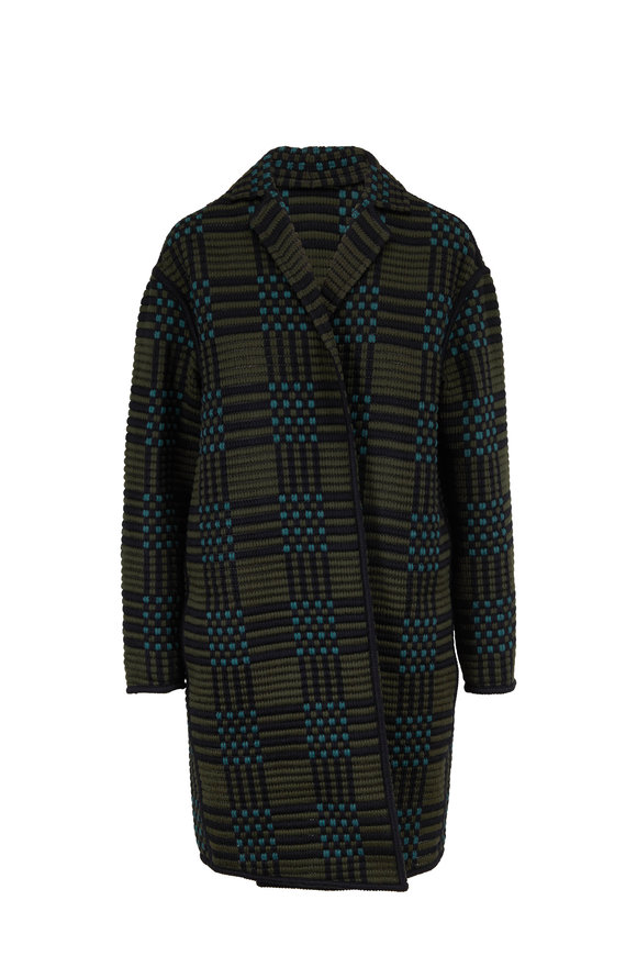 Akris Pine & Navy Plaid Wool & Silk Textured Knit Coat