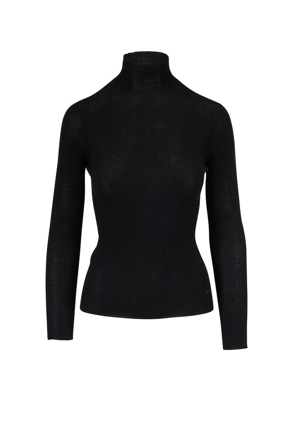 Akris Black Cashmere & Silk Mockneck Ribbed Top