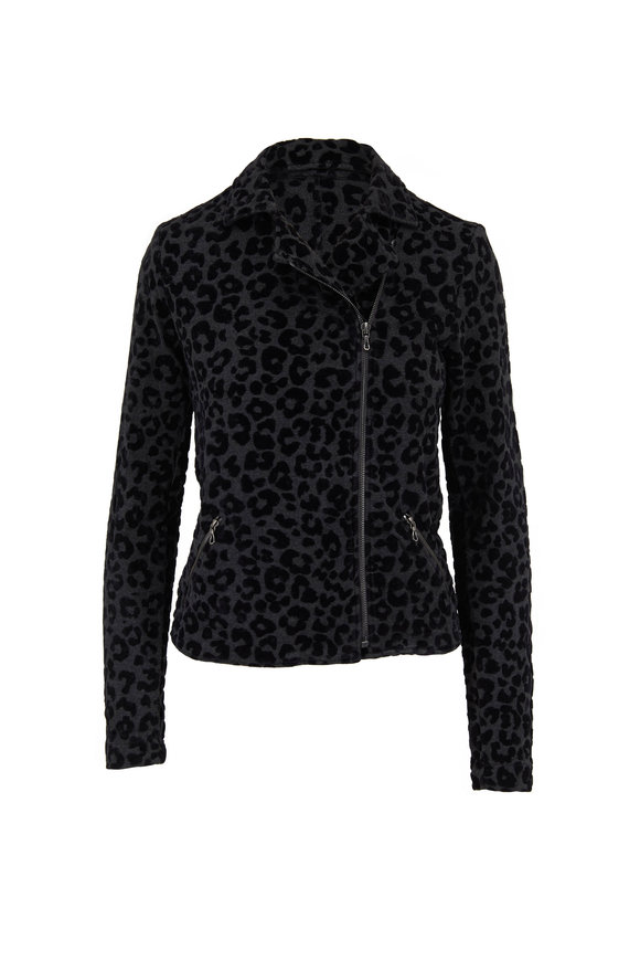 Majestic Anthracite French Terry Leopard Print Moto Jacket