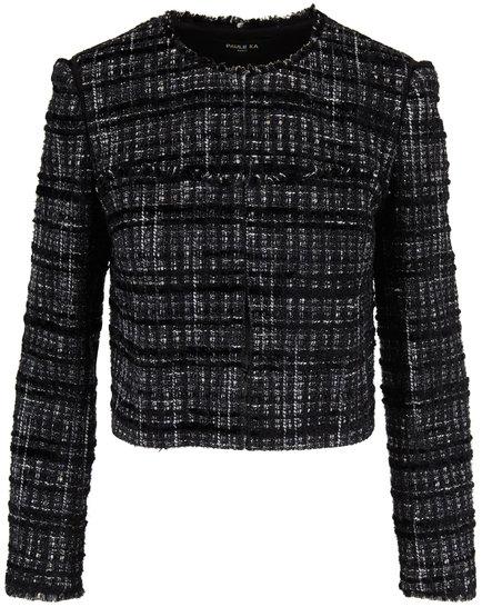 Paule Ka Black Tweed & Lurex Cropped Jacket