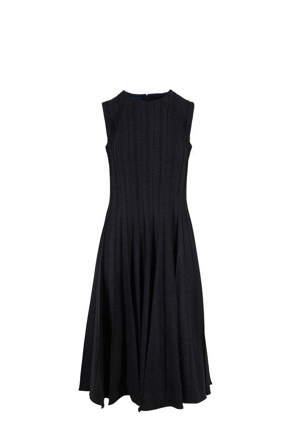 Oscar de la Renta Charcoal Stretch Wool Pleated Sleeveless Dress