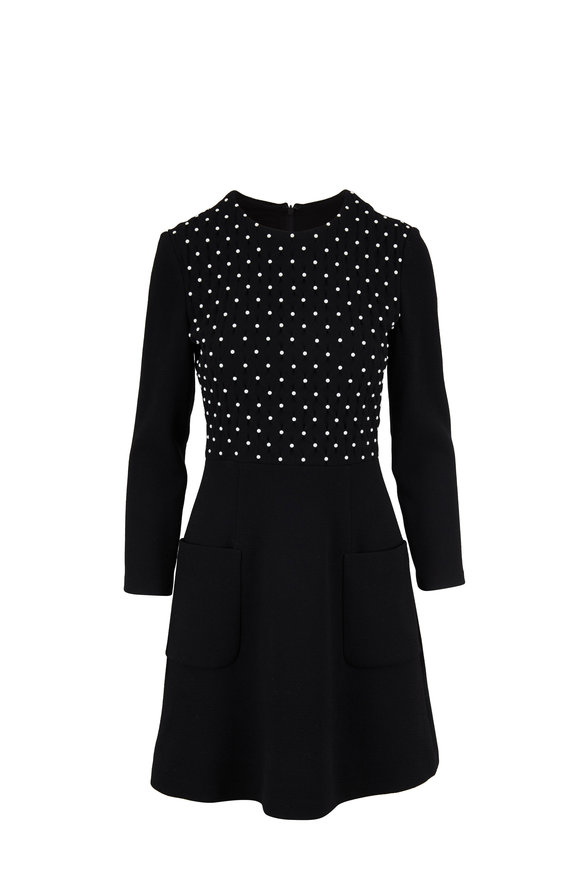Lela Rose Black Smocked Bodice Long Sleeve A-Line Dress