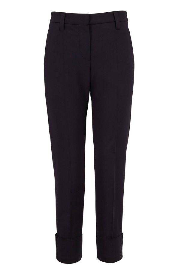 Brunello Cucinelli Black Stretch Wool Wide Monili Cuff Pant