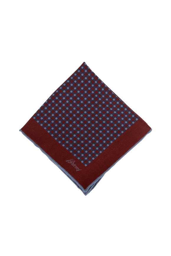 Brioni Burgundy & Navy Check Wool & Silk Pocket Square