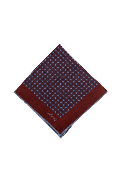 Brioni - Burgundy & Navy Check Wool & Silk Pocket Square