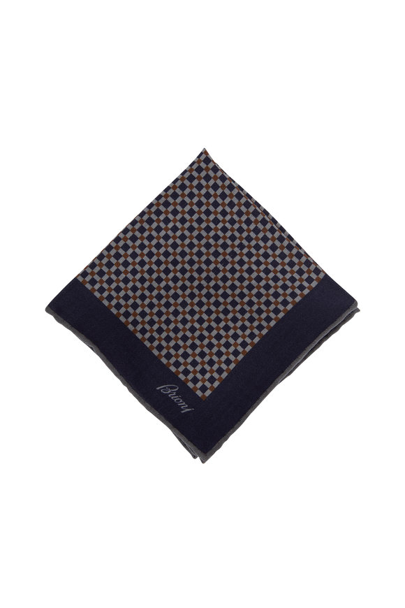 Brioni Gray & Navy Check Wool & Silk Pocket Square