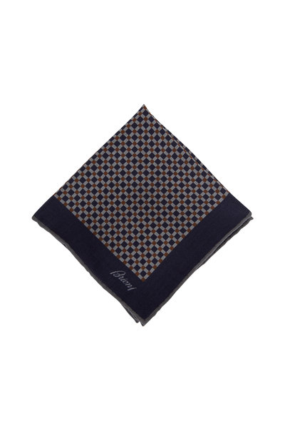 Brioni - Gray & Navy Check Wool & Silk Pocket Square