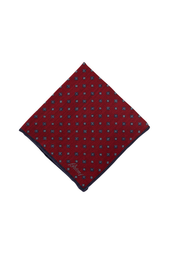 Brioni Red Geometric Wool & Silk Pocket Square