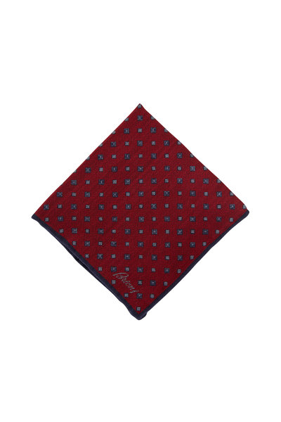 Brioni - Red Geometric Wool & Silk Pocket Square