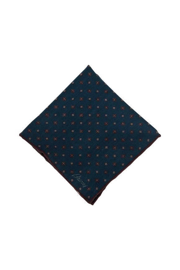 Brioni Teal Geometric Print Wool & Silk Pocket Square