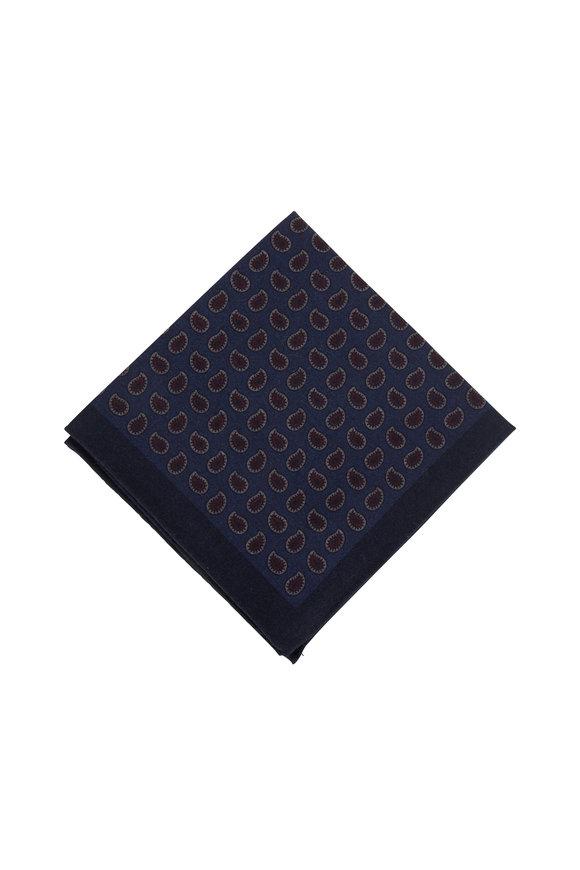 Ermenegildo Zegna Navy Blue Paisley Wool Reversible Pocket Square