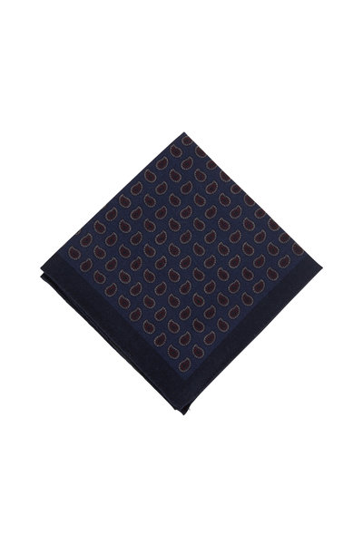 Ermenegildo Zegna - Navy Blue Paisley Wool Reversible Pocket Square