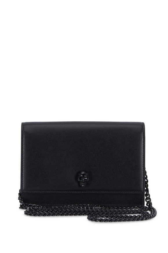 Alexander McQueen Skull Black Leather Chain Small Crossbody