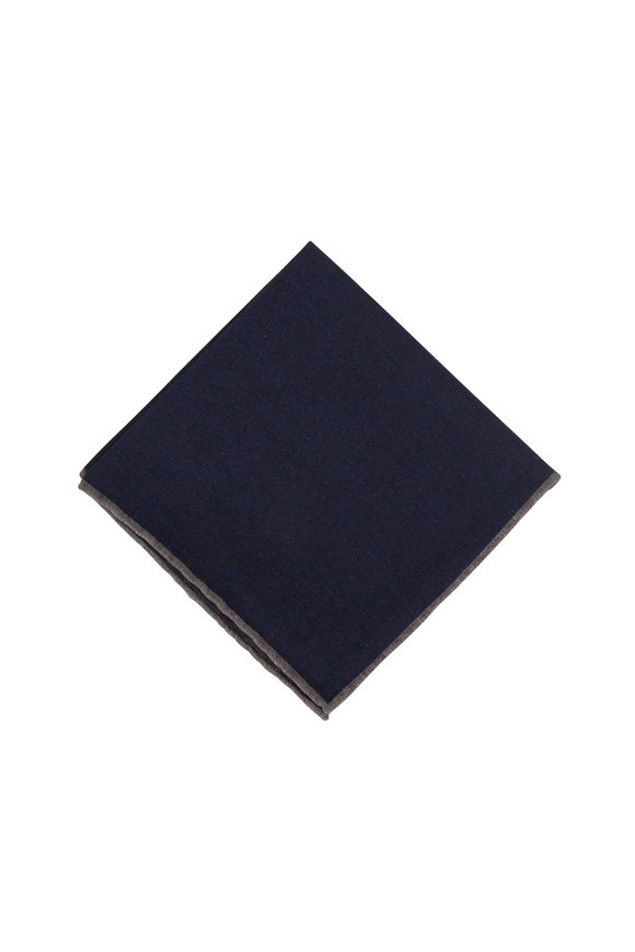 Paolo Albizzati Navy Blue Wool & Cotton Reversible Pocket Square