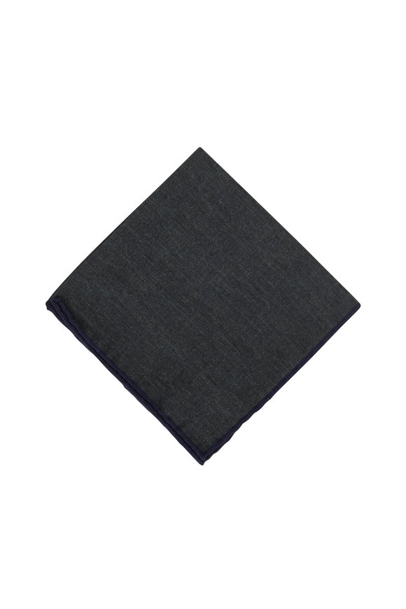 Paolo Albizzati Dark Green Wool & Cotton Reversible Pocket Square