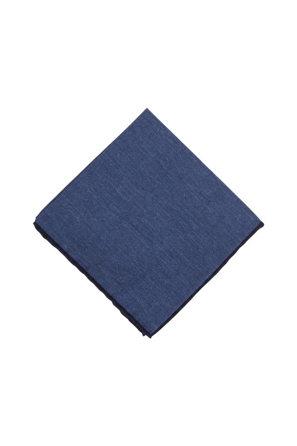 Paolo Albizzati Mid Blue Wool & Cotton Reversible Pocket Square