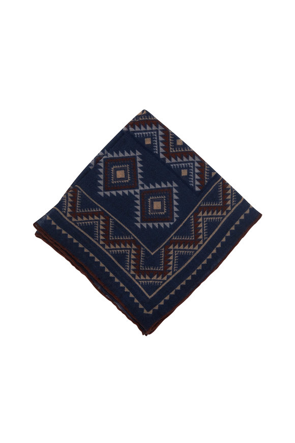 Paolo Albizzati Navy Blue Aztec Pattern Wool Pocket Square