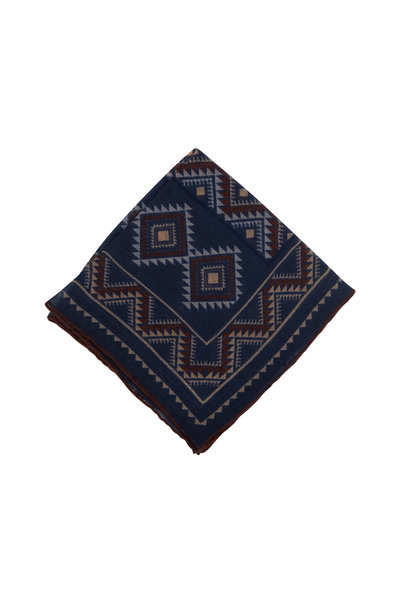 Paolo Albizzati - Navy Blue Aztec Pattern Wool Pocket Square