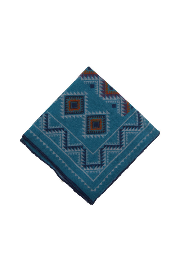 Paolo Albizzati Aqua Aztec Pattern Wool Pocket Square