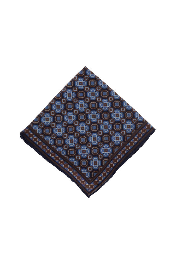 Paolo Albizzati Navy & Brown Geo Floral Wool Pocket Square