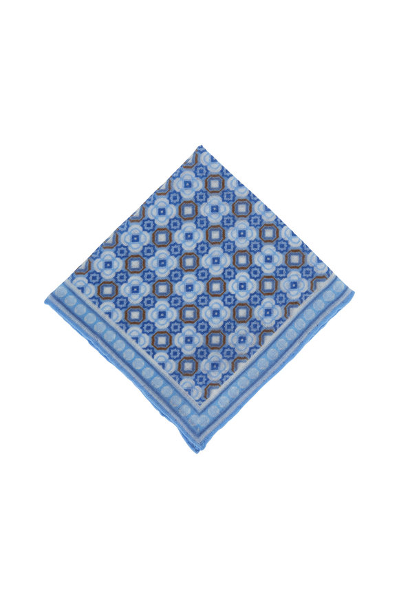 Paolo Albizzati Light Blue Geo Floral Wool Pocket Square