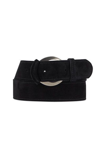 Kim White - Tipped Black Suede Buckle Belt