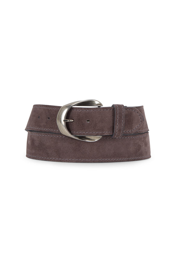 Kim White Inverted Ribbon Grey Suede Buckle Belt