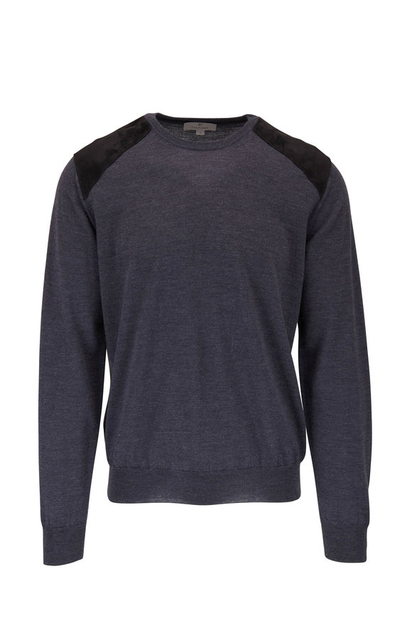 Canali Charcoal Crewneck Leather Shoulder Sweater