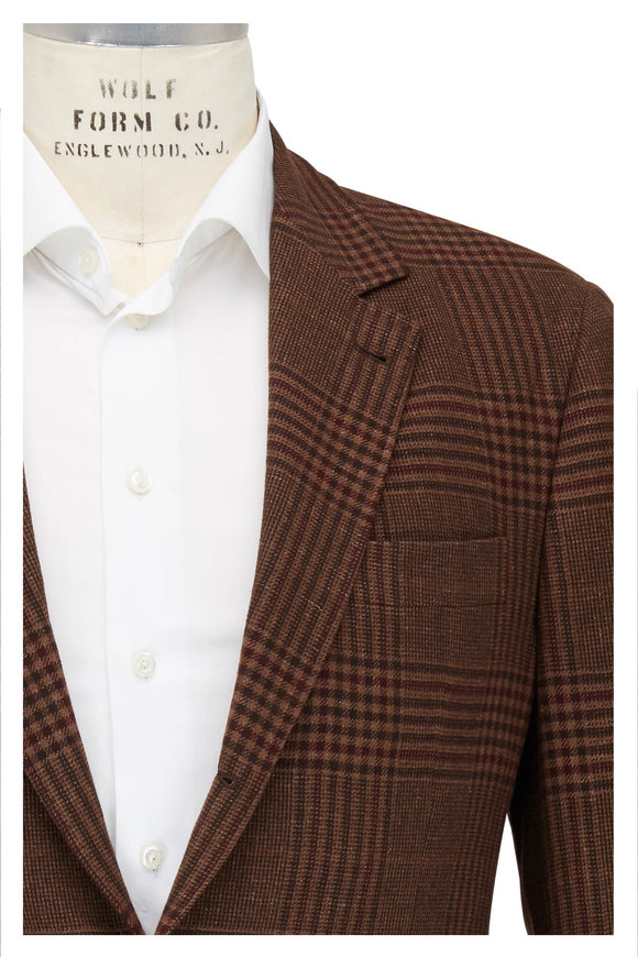 Brunello Cucinelli Brown & Rust Plaid Wool Blend Sportcoat