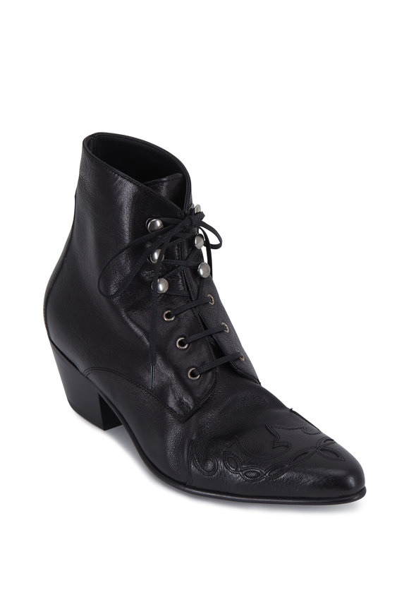 Susan Black Aged Leather Lace-Up Bootie, 60mm