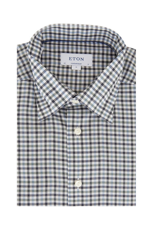 Eton Blue Multi Plaid Contemporary Fit Sport Shirt