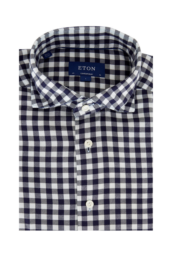 Eton  Navy Buffalo Check Contemporary Fit Sport Shirt