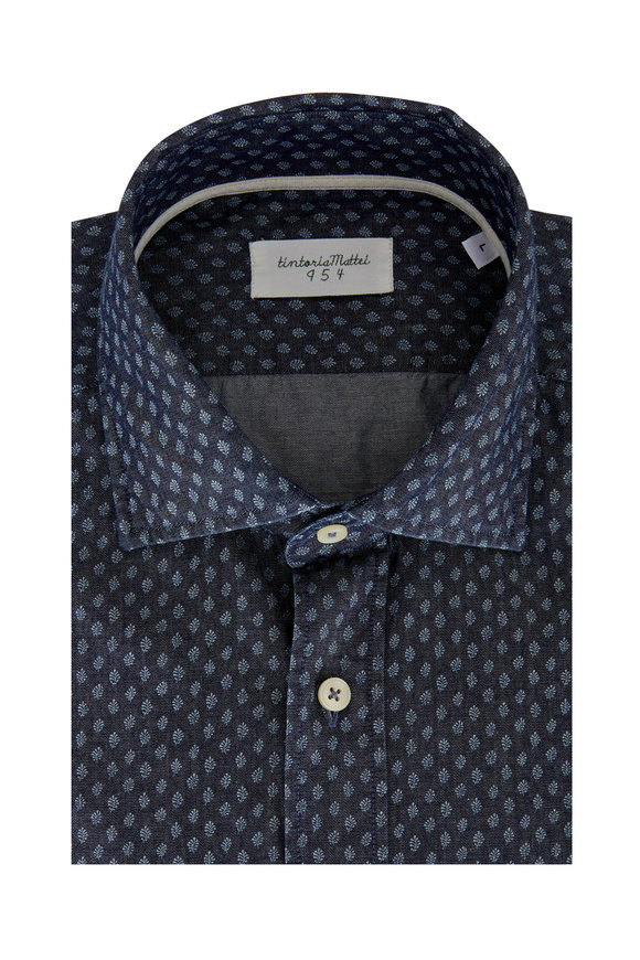 Tintoria Chambray Leaf Printed Contemporary Sport Shirt