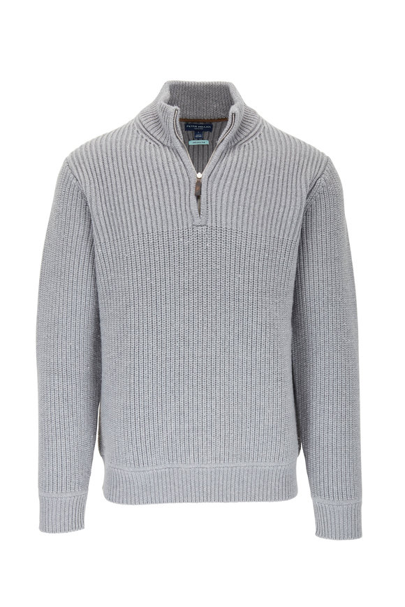 Peter Millar Martin Gray Quarter-Zip Wool Pullover