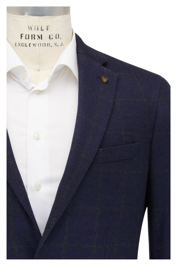 Peter Millar Navy Blue Cashmere & Silk Windowpane Sportcoat