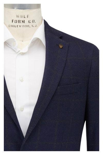 Peter Millar - Navy Blue Cashmere & Silk Windowpane Sportcoat