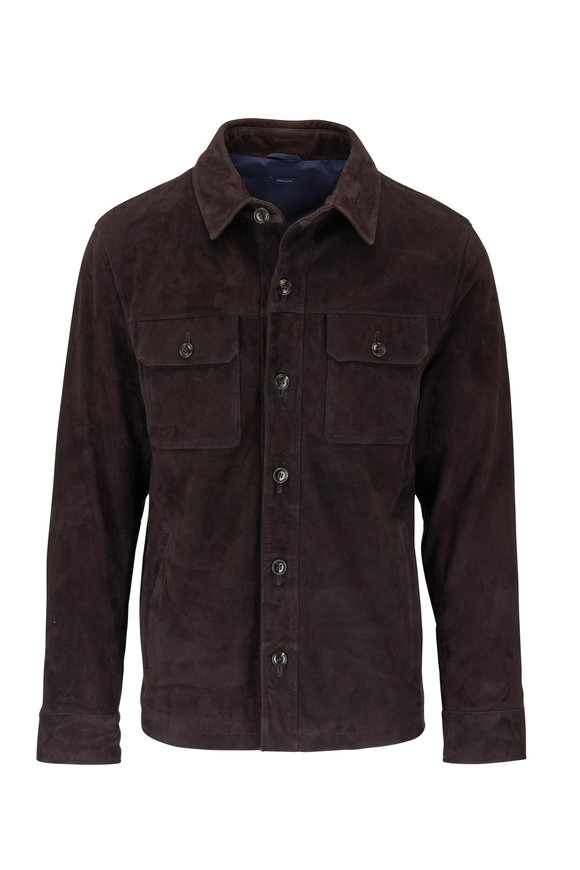 Peter Millar Journeyman Dark Brown Suede Overshirt