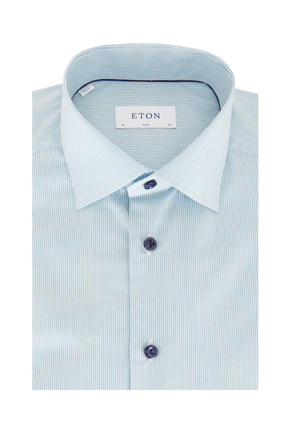 Eton Teal Striped Slim Fit Dress Shirt