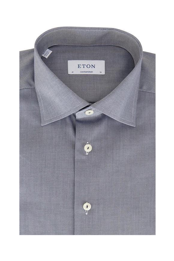 Eton  Navy Twill Striped Contemporary Fit Dress Shirt