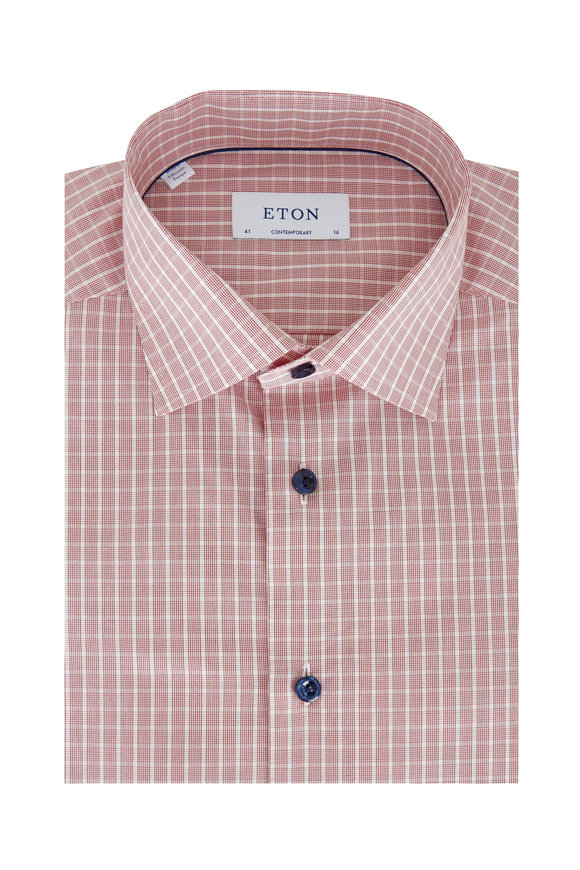 Eton Red Plaid Contemporary Fit Dress Shirt
