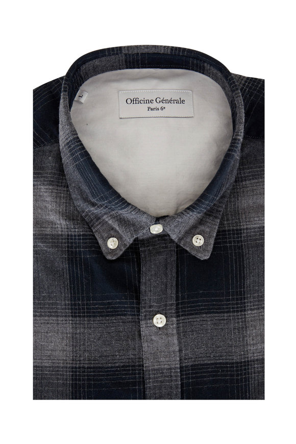 Officine Generale Black Shadow Plaid Sport Shirt