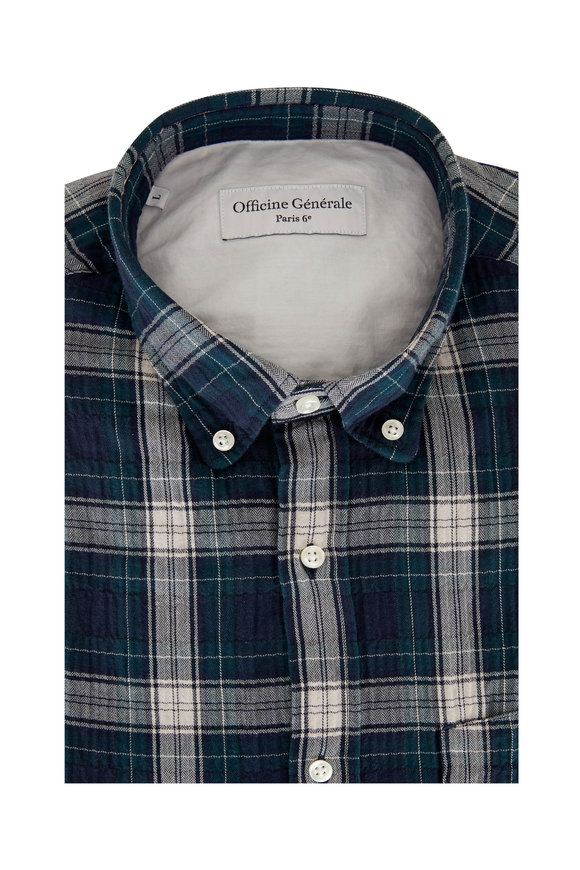 Officine Generale Green Plaid Textured Sport Shirt