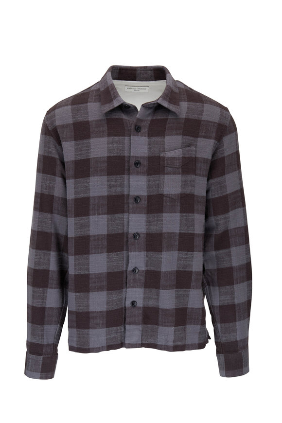 Officine Generale Black & Gray Plaid Cotton Overshirt