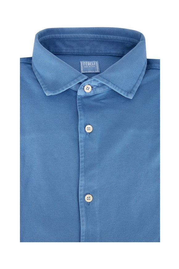 Fedeli Sky Blue Pique Sport Shirt