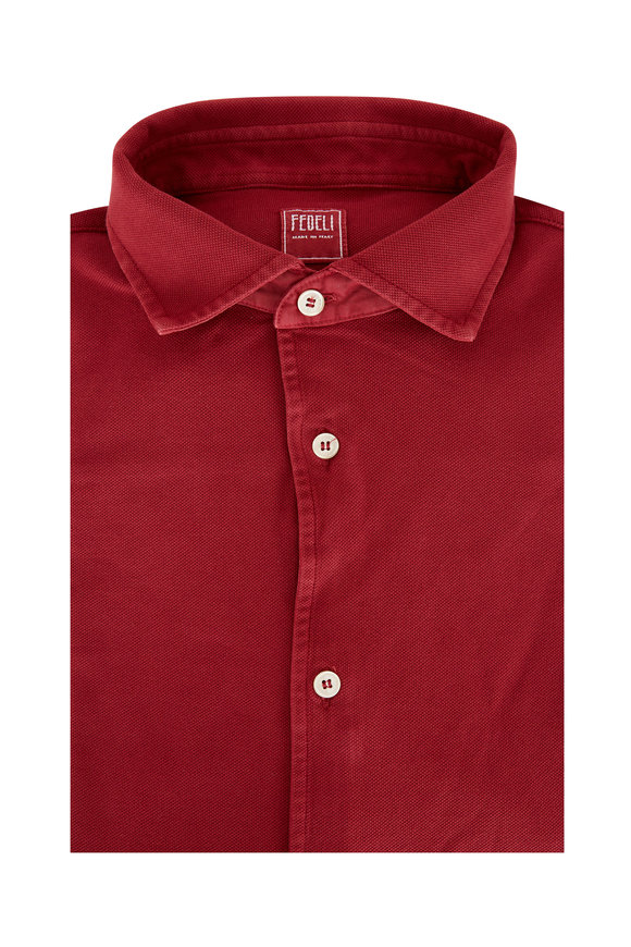 Fedeli Burgundy Pique Sport Shirt